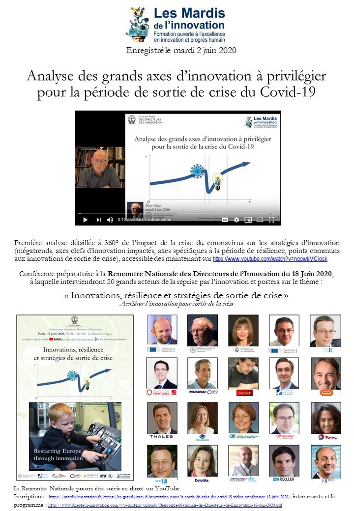 Mardi de l'innovation - Analyse des grands axes d'innovation de sortie de crise du Covid-19