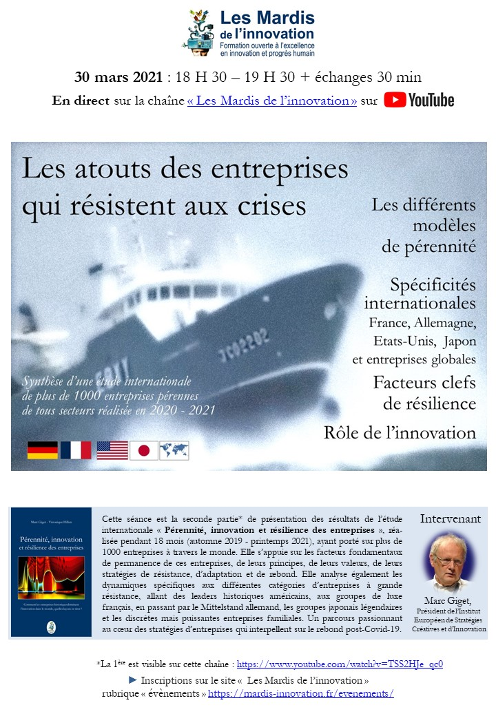 Programme Mardi Innovation - Les atouts des entreprises qui résistent aux crises - 30 03 2021