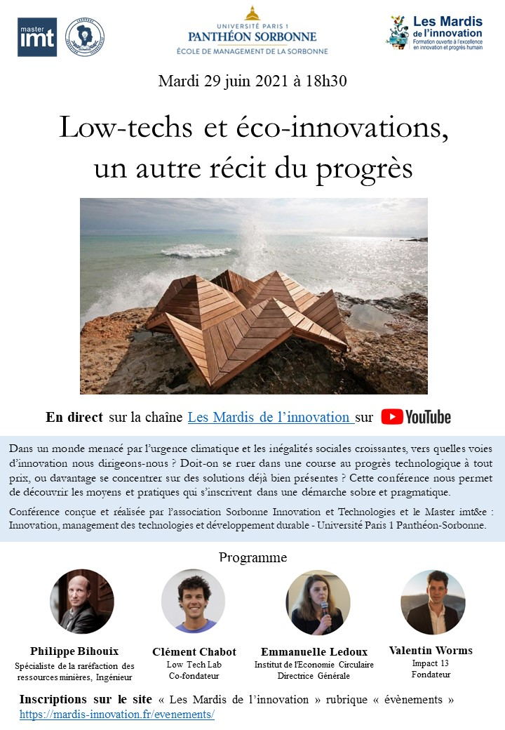 Programme Mardis de l'innovation Low-techs 29juin2021